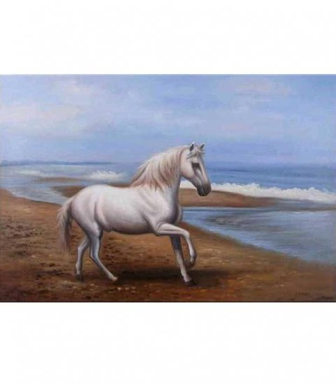 WHITE HORSE ON SEASHORE OIL PAINTING