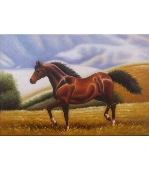 DARK BAY HORSE ON THE HILLS OIL PAINTING