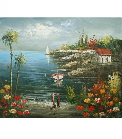 SLEEPY TROPICAL BAY  OIL PAINTING