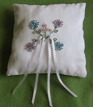 Delicate Flower Ring Bearer Pillow