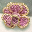 Joan Rivers Sparkling Pink Crystal Rhinestone Flower Brooch Large Layered