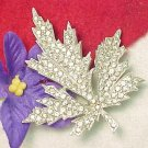 Vintage Signed Brooch Encrusted Brilliant Clear Rhinestones Figural Leaf