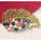 LISNER Brooch Sparkling Blue Clear Rhinestones Pink White Moonstones