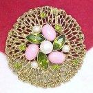 SARAH COVENTRY Brooch Pink Cabochons, Peridot Green Rhinestones, Pearls Huge 2 3/4 inch