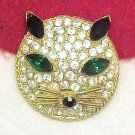 Sparkling Rhinestone Cat Face Brooch