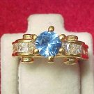 Gorgeous Signed LIND Blue and Clear Rhinestone Cocktail Ring Size 5 GLITZ