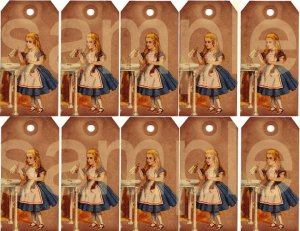 Vintage Grungy Altered Alice in Wonderland 20s Tenniel Tags Digital Collage Sheet