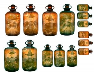 Vintage WITCH...Witches..in Antique Bottles....Bubbles...Digital Collage Sheet