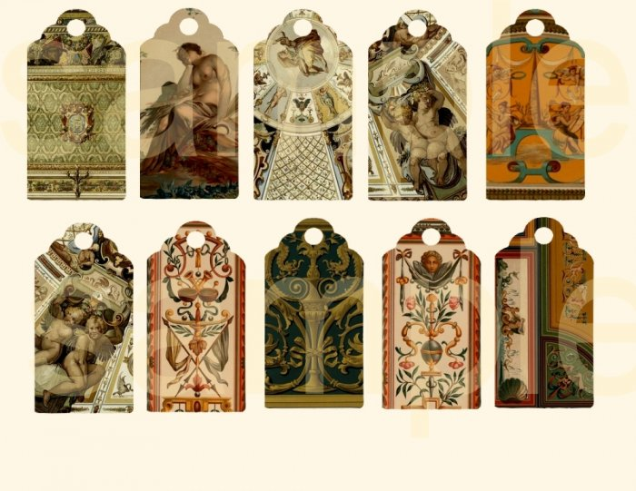 Vintage Ornate Renaissance Design Hang Tags..... Digital Collage Sheet