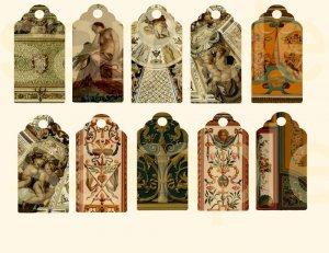 Vintage Ornate Renaissance Design Hang Tags..... Digital Collage Sheet