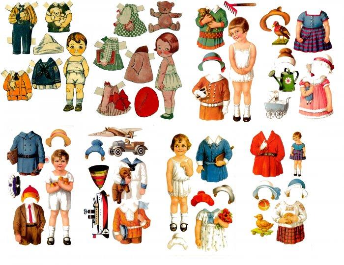 Adorable Vintage Paper Dolls  Digital Collage Sheet