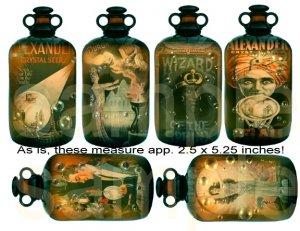 Vintage MAGIC...Bubbling in Antique Bottles...Digital Collage Sheet