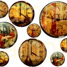 Vintage PARIS Altered CLOCK Faces... Unique and OOAK... Digital Collage Sheet