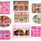 Vintage PARIS in Pink...Luggage Labels...Travel......Digital Collage sheet