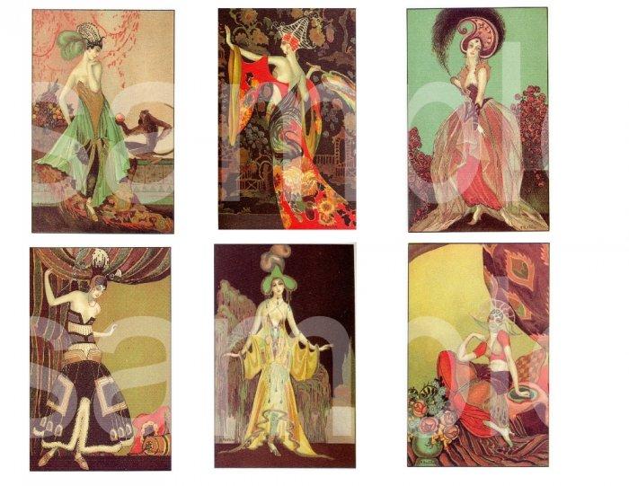 Vintage Exotic Art Deco Fashion Divas....Very Colorful.... Digital Collage sheet