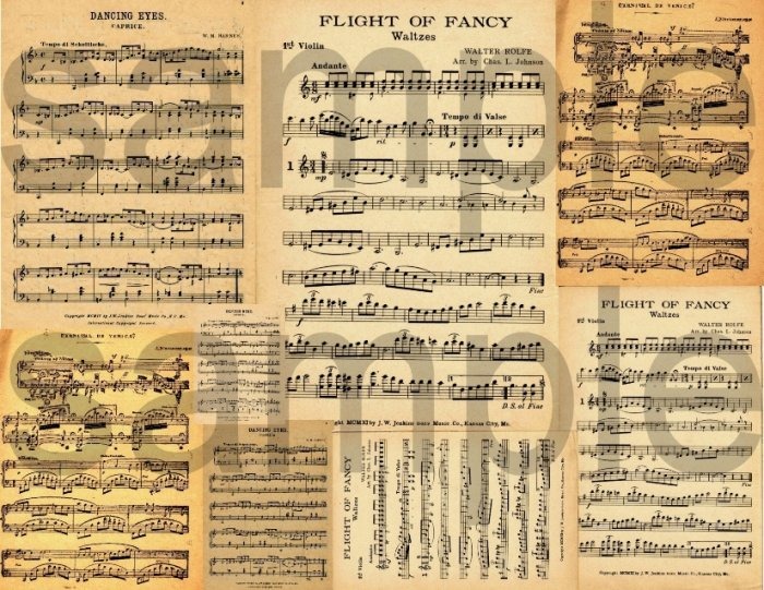 Vintage Yellowed Sheet Music Great Backgrounds Digital Collage Sheet