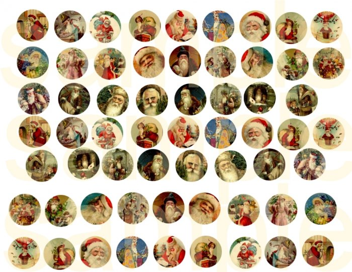 Vintage SANTA 1 inch Circles for Bottlecap Charms...Father Christmas....Digital Collage Sheet