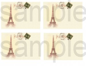 Altered Old BLANK French Postcards with Eiffel Tower Digital Collage Sheet
