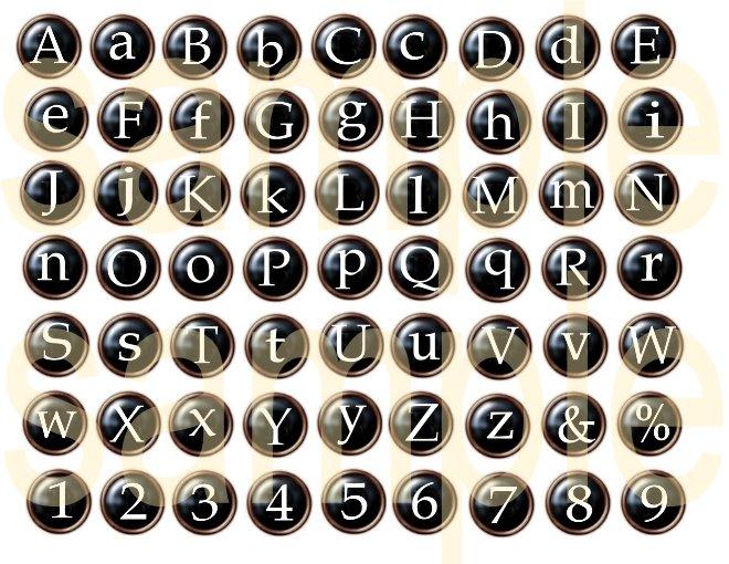 Typewriter Keys Black Button Alphabet Digital Collage Sheet