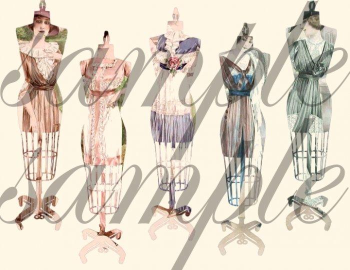 Vintage Altered Dress Forms Dressmakers Mannequin French Paris CHIC Pastels Digital Collage Sheet