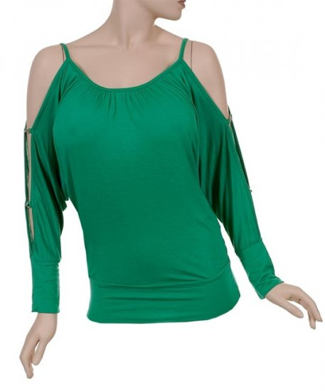 Green Cutout Sleeve Top