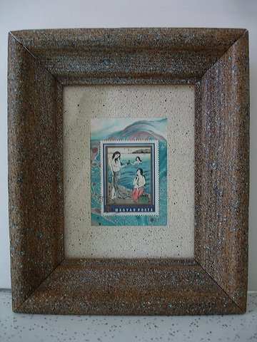 """under the wave"" framed stamp collage - mixed media"