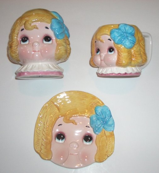 Dolly Dingle Girl Toby Mug, Plate, and Coin Bank Set