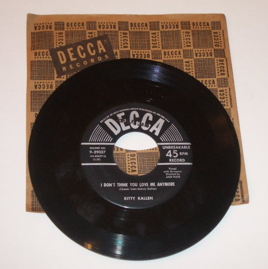 Kitty Kallen Vinyl I Don't Think You Love Me Anymore / Little Things Mean a Lot 1954