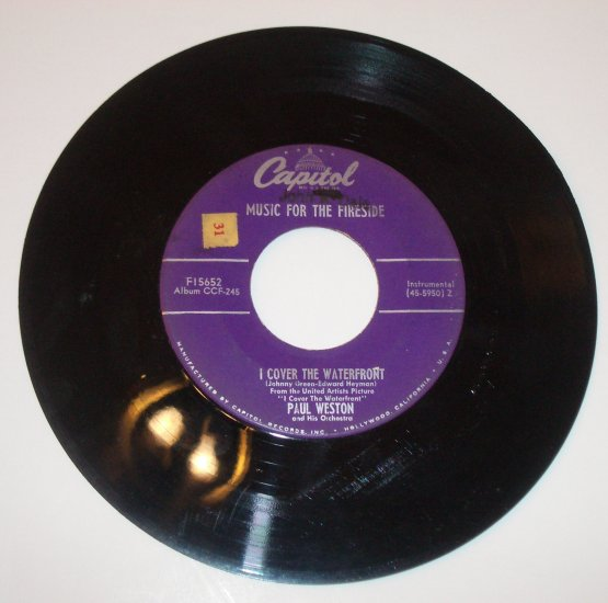 """Paul Weston 45 RPM 7"""" Vinyl Record I Cover the Waterfront / Something to Remember You By"""