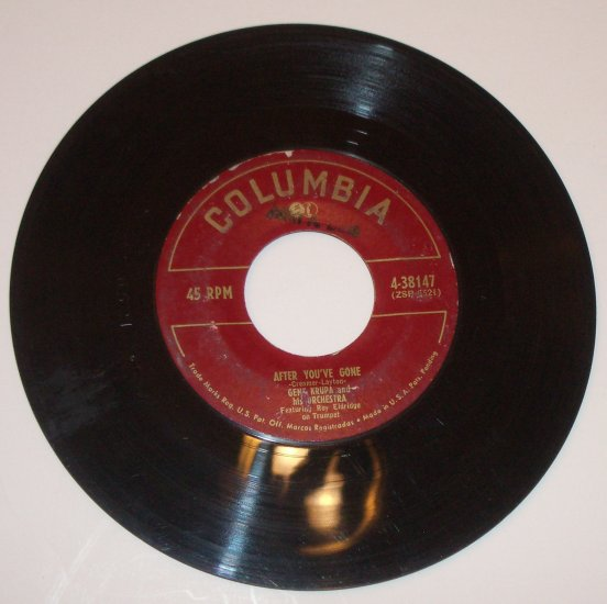 Gene Krupa and His Orchestra 45 RPM Vinyl Record After You've Gone / Dark Eyes