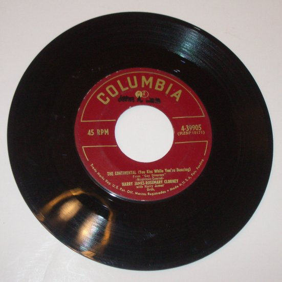 """Harry James / Rosemary Clooney 7"""" 45 RPM Vinyl Record The Continental / You'll Never Know 1954"""
