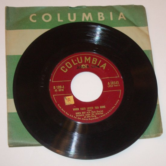 """Doris Day 7"""" Vinyl 45 RPM Record When Your Lover has Gone / Bewitched"""