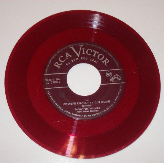 "Fiedler and Boston Pops 7"" 45 RPM Vinyl Record Hungarian Rhapsody No. 2 in C-Sharp"