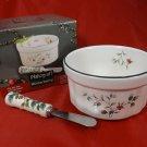 Pfaltzgraff Winterberry 2 Piece Dip Mix Set with Spreader ~ Christmas Holiday Serveware