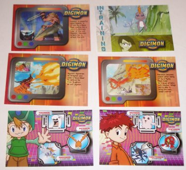 Lot of 6 DIGIMON Digital Monsters Trading Cards 2000 #49, 59, 60, 64, 69, 72 VCG