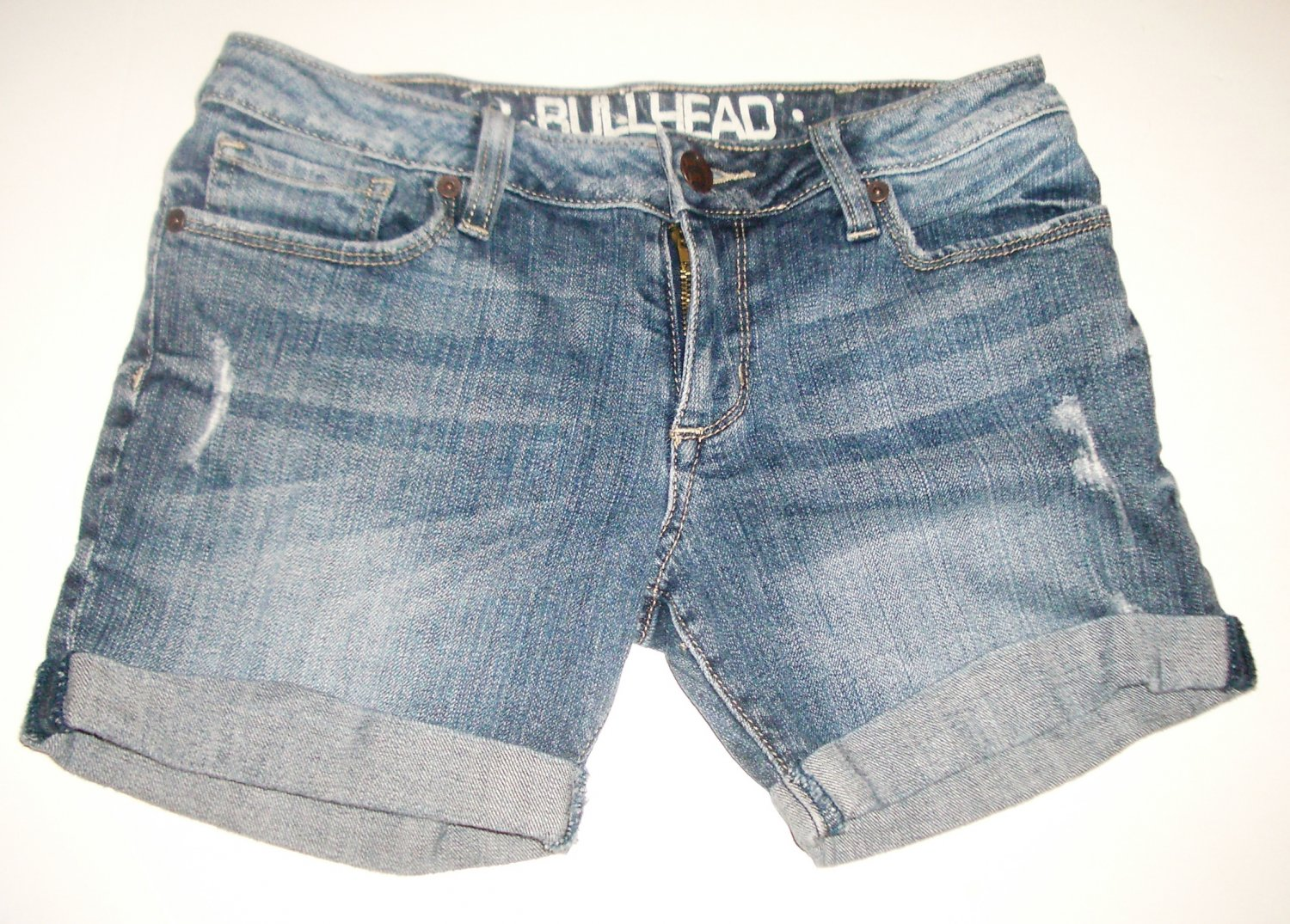Bullhead Double Rolled Short Denim Jean Shorts Low Rise Distressed Sz 0 Pacsun