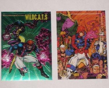2 WILDC.A.T.s Comic Trading Cards SPARTAN Chromium PR1 & #60 Jim Lee 1994