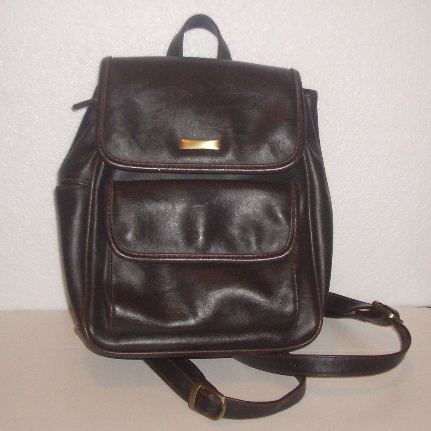 Leather Mini Backpack Satchel Dark Brown Handbag Zipper Closure Adjustable