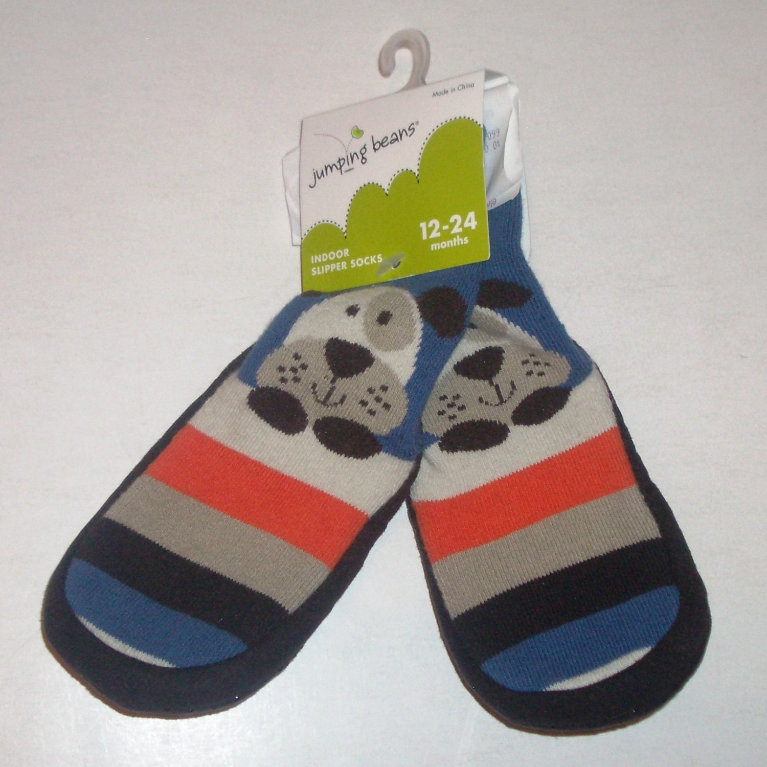 Cute Baby Boy Jumping Beans Indoor Slipper Socks w Puppy Dogs size