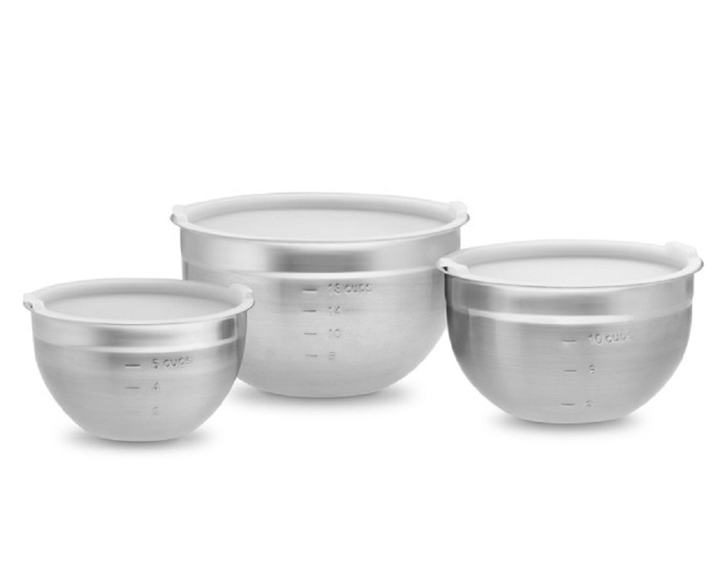 williams sonoma 18 10 stainless steel mixing bowls set with lids 18 cups 10 cups 6 cups. Black Bedroom Furniture Sets. Home Design Ideas