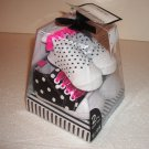 Cutie Pie Baby Girls 2 Piece Gift Set Crib Shoes & Socks Black Dot 6-9 Months