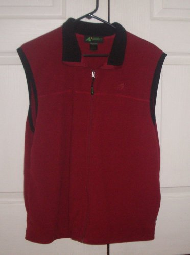 Eastern Mountain Sports EMS Mens Fleece Vest Sz L Red Zip Up Zip Pockets