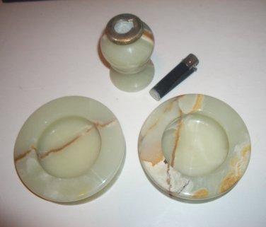 Marble Set 2 Ashtrays & Lighter Pale Green Uses Disposible Lighter