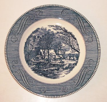 """Vintage 10"""" Plate CURRIER and IVES """"The Old Grist Mill"""" by Royal USA"""