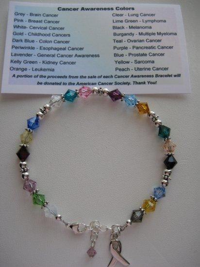 Swarovski Crystal and Sterling Silver All Cancer Awareness Bracelet