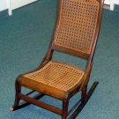 WOOD ROCKING CHAIR WITH WICKER INSERTS  BEAUTIFUL DETAILING - ALL ORIGINAL
