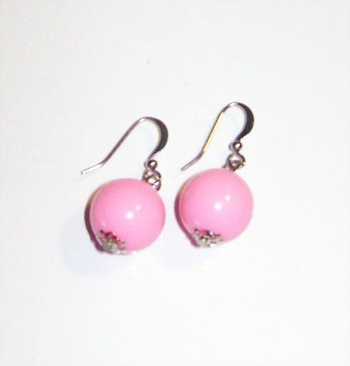Pink Ball Earrings