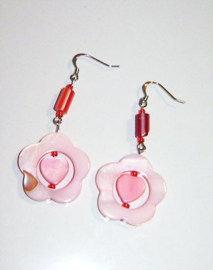 Pink Heart Shell & Murano Glass Bead Earrings