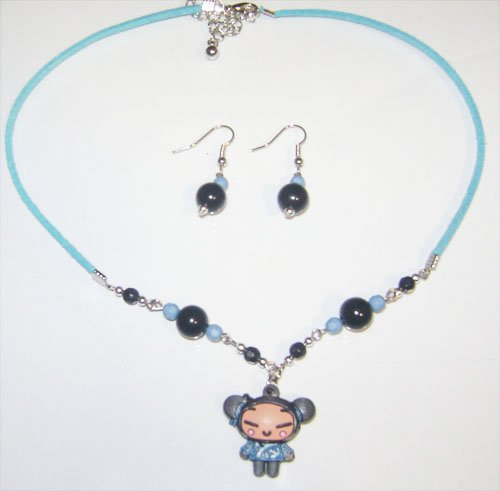 Blue Pucca Necklace & Earring Set