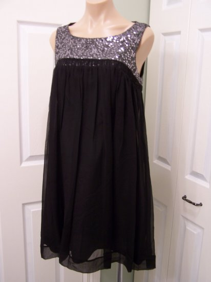 Calvin Klein Black/Silver SILK Mini Dress size 12